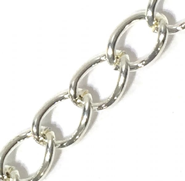 1 Metre 4MM X 6MM Silver  Plated Curb Chain CH106